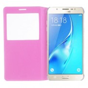 View Window Smart Leather Flip Shell for Samsung Galaxy J7 (2016) - Pink