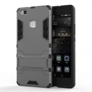 For Huawei P9 Lite Cool Kickstand Plastic + TPU Hybrid Cover Shell - Grey