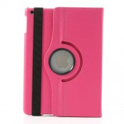 360 Degree Rotating Litchi Leather Stand Cover for iPad Air - Rose