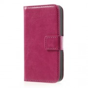 Rose Crazy Horse Wallet Leather Case Stand for iPhone 4 4s