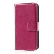 Δερμάτινη Θήκη Πορτοφόλι με Βάση Στήριξης για iPhone 4 4s - Φούξια