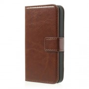 Brown Crazy Horse Credit Card Wallet Leather Shell Stand for iPhone 4 4s