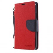 NEWSETS Δερμάτινη Θήκη Πορτοφόλι με Βάση Στήριξης για Samsung Galaxy S5 G900 / S5 Neo - Κόκκινο/Μπλε