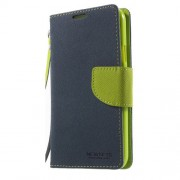 NEWSETS MERCURY Δερμάτινη Θήκη Πορτοφόλι με Βάση Στήριξης για Samsung Galaxy S5 G900 / S5 Neo - Μπλε/Πράσινο
