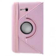 Περιστρεφόμενη Δερμάτινη Θήκη Βιβλίο με Βάση Στήριξης για Samsung Galaxy Tab 3 7.0 Lite T110 T111 - Ροζ