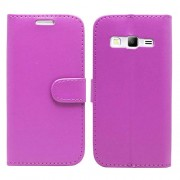Purple Lychee Leather Wallet Stand Case for Samsung Galaxy Express II G3815