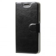 Crazy Horse Card Slot PU Leather Cover for Lenovo A6000 / K3 Music Lemon - Black