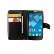 Black Wallet Lychee PU Leather Stand Case for Alcatel One Touch Pop C5 OT-5036A OT-5036D OT-5036X OT-5037A