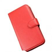 Δερμάτινη Θήκη Πορτοφόλι με Βάση Στήριξης για Alcatel Pop C5 OT-5036A OT-5036D - Κόκκινο