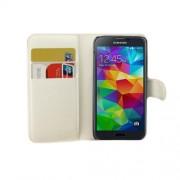 Δερμάτινη Θήκη Πορτοφόλι με Βάση Στήριξης για Samsung Galaxy S5 mini G800 - Λευκό
