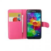 Δερμάτινη Θήκη Πορτοφόλι με Βάση Στήριξης για Samsung Galaxy S5 mini G800 - Φούξια