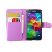 Δερμάτινη Θήκη Πορτοφόλι με Βάση Στήριξης για Samsung Galaxy S5 mini G800 - Μωβ