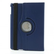 360 Degree Rotating Litchi Leather Flip Cover for iPad Air - Dark Blue
