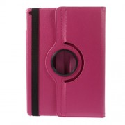 360 Degree Rotary Stand Litchi Grain Leather Flip Case for iPad Air 2 - Rose