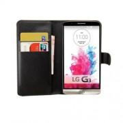 Δερμάτινη Θήκη Πορτοφόλι με Βάση Στήριξης για LG G3 D850 LS990 - Μαύρο