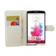 Δερμάτινη Θήκη Πορτοφόλι με Βάση Στήριξης για LG G3 D850 LS990 - Λευκό