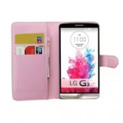 Δερμάτινη Θήκη Πορτοφόλι με Βάση Στήριξης για LG G3 D850 LS990 - Ροζ