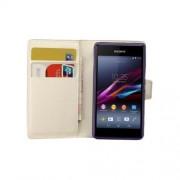 Δερμάτινη Θήκη Πορτοφόλι με Βάση Στήριξης για Sony Xperia E1 D2004 D2005 / E1 Dual D2104 D2105 -Λευκό