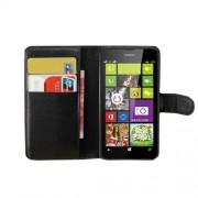 Black Litchi Grain PU Leather Wallet Case w/ Stand for Nokia Lumia 630 / 630 Dual SIM RM-978