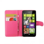 Rose Litchi Grain PU Leather Wallet Cover for Nokia Lumia 630 w/ Stand