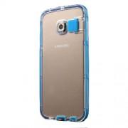 Θήκη Σιλικόνης TPU με Πλαστικό με Φωτισμό LED Όταν Έχετε Κλήση για Samsung Galaxy S6 Edge G925 - Γαλάζιο
