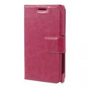 Δερμάτινη Θήκη Πορτοφόλι με Βάση Στήριξης για Sony Xperia Z5 Compact - Φούξια