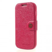MLT Δερμάτινη Θήκη Πορτοφόλι με Βάση Στήριξης για Samsung Galaxy S Duos S7562 / S7560M / S7560 / S7580 / S7582 - Κόκκινο