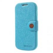 MLT Δερμάτινη Θήκη Πορτοφόλι με Βάση Στήριξης για Samsung Galaxy S Duos S7562 / S7560M / S7560 / S7580 / S7582 - Μπλε