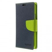 Mercury GOOSPERY Fancy Diary Leather Wallet Cover for Samsung Galaxy S5 G900 G900R4 - Green / Dark Blue