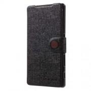 MEILAITE Δερμάτινη Θήκη Πορτοφόλι με Βάση Στήριξης (Ανάγλυφη Όψη) για Sony Xperia Z5 / Z5 Dual - Μαύρο