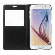 Opening View Window Leather Case for Samsung Galaxy S6 G920 - Black