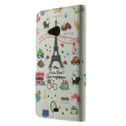 Eiffel Tower for Microsoft Lumia 535 / 535 Dual SIM Leather Wallet Case w/ Stand