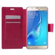 Δερμάτινη Θήκη Πορτοφόλι με Βάση Στήριξης για Samsung Galaxy J7 (2016) - Φούξια