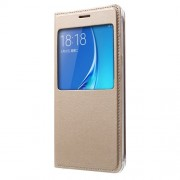 View Window Leather Protective Cover for Samsung Galaxy J5 (2016) - Gold