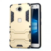 Solid PC + TPU Hybrid Case Cover with Kickstand for Microsoft Lumia 650 / Dual - Gold