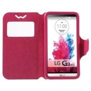 Universal Δερμάτινη Θήκη Βιβλίο Smart Cover με Βάση Στήριξης για LG G3 S και άλλα κινητά με μέγεθος 13,5 x 7cm - Φούξια