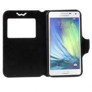 Universal Δερμάτινη Θήκη Βιβλίο Smart Cover με Βάση Στήριξης για Samsung Galaxy A7 και άλλα κινητά με μέγεθος 151 x 80 x 10mm - Μαύρο