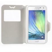 Universal Δερμάτινη Θήκη Βιβλίο Smart Cover με Βάση Στήριξης για Samsung Galaxy A7 και άλλα κινητά με μέγεθος 151 x 80 x 10mm - Λευκό