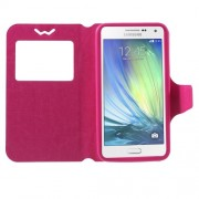 Universal Δερμάτινη Θήκη Βιβλίο Smart Cover με Βάση Στήριξης για Samsung Galaxy A7 και άλλα κινητά με μέγεθος 151 x 80 x 10mm - Φούξια