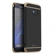 IPAKY Σκληρή Λεπτή Θήκη 3 σε 1 Electroplating για Samsung Galaxy S7 Edge G935 - Μαύρο/Χρυσαφί