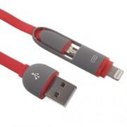 Πλατύ καλώδιο φόρτισης με δύο εξόδους micro USB και Lightning 8-pin για iphone και Smartphones με microUSB 1 μέτρο - Κόκκινο