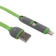 Πλατύ καλώδιο φόρτισης με δύο εξόδους micro USB και Lightning 8-pin για iphone και Smartphones με microUSB 1 μέτρο - Πράσινο