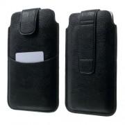 Δερμάτινη Θήκη Πουγκί με Θήκη για Κάρτες για Samsung Galaxy Note 4 N910. και άλλα Κινητά με Μέγαθος 16.5 x 9.8cm - Μαύρο