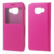 View Window Leather Phone Case for Samsung Galaxy A3 SM-A310F (2016) - Rose
