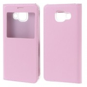 View Window PU Leather Shell Case for Samsung Galaxy A3 SM-A310F (2016) - Pink