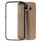 Solid Color TPU Edge + Crystal Acrylic Back Hybrid Case for Samsung Galaxy S6 Edge G925 - Black