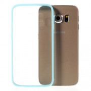 Θήκη Σιλικόνης TPU με Διάφανη Σκληρή Πλάτη για Samsung Galaxy S6 Edge G925 - Γαλάζιο