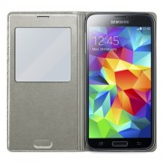 Silver Window View Smart Leather Flip Battery Housing Cover for Samsung Galaxy S5 G900