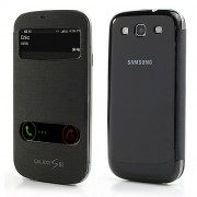 Black S View Table Talk Leather Battery Housing Back Case Cover for Samsung Galaxy S3 / III I9300