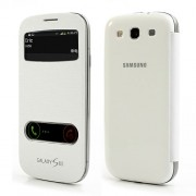 White S View Table Talk Leather Battery Housing Back Case Cover for Samsung Galaxy S3 / III I9300